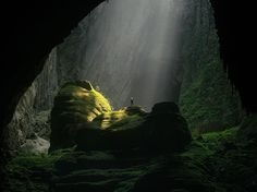 Picture of a hiker in the Hang Son Doong cave in Vietnam