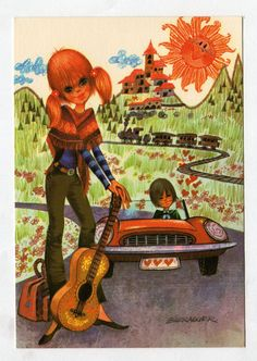 Vintage post card 70s. Mod couple going on a summer holiday. Illustrator Barraguer.