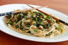 Ginger Scallion Noodles. Ready in less than 15 minutes + can be made ahead of time + tastes delicious = Yes, please!