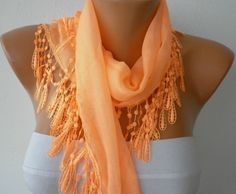 Orange Scarf Cotton Scarf Headband Necklace Cowl by fatwoman