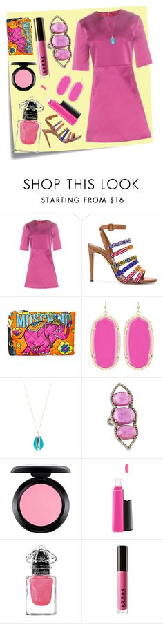 """Satin Dress..**"" by yagna ❤ liked on Polyvore featuring Post-It, McQ by Alexander McQueen, Aquazzura, Moschino, Kendra Scott, Aurélie Bidermann, Bavna, MAC Cosmetics, Guerlain and LORAC"