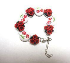 Rose and Cherry Bracelet Rockabilly Jewelry by sweetie2sweetie, $21.99