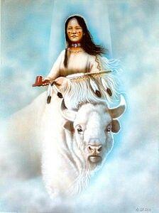 Native American White Buffalo Painting - White Buffalo Girl by Amatzia Baruchi Native American Pictures, Native American Artwork, Indian Pictures, American Indian Girl, Native American Women, Native American Indians, Native Americans, Sioux, Buffalo Painting