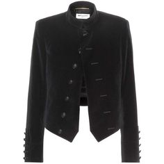 Saint Laurent Velvet Jacket (2,945 BAM) ❤ liked on Polyvore featuring outerwear, jackets, coats, yves saint laurent, black, black velvet jacket, black jacket and velvet jacket