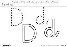 Grafía de la letra d minúscula. Los niños pueden repasarla