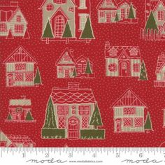 Petites Maisons De Noel~Houses Red~Christmas Cotton Fabric by~Moda 13790-11~Fast Shipping HC578