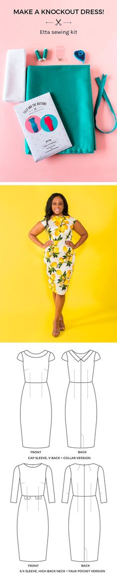 Make a knockout dress with the Etta sewing kit.  Each kit contains all the bits and bobs you need to sew the gorgeous Etta dress