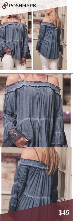 🎉HP Style Icons 10/27🎉 Boho Chic Off The Shoulde 🎉🎉HP Pick for Style Icons 10/27🎉🎉Gorgeous wash dyed off the shoulder top with adjustable straps. Lace cuffs and pretty pleating make this stunner a show stopper. Color is Indigo Blue and is made of 100% Rayon (Self) 50% Cotton 50% Polyester Contrast. Comes in small, medium and large. Photos will be changed but for now are from the very kind Wholesaler Infinite Raine. Infinite Raine Tops Tunics