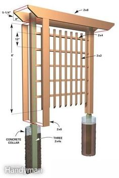 Wood Garden Trellis Designs Inexpensive Landscaping for Attractive Entryways The Family Handyman Backyard Projects, Outdoor Projects, Garden Projects, Garden Ideas, Diy Garden, Garden Pallet, Pallet Patio, Garden Inspiration, Diy Projects