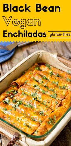 These black bean vegan enchiladas are packed with complex flavors, plenty of nutrition and antioxidants. It's a wonderful dish for Meatless Monday. These black bean vegan enchiladas are packed with complex flavors, plenty of. Veggie Recipes, Mexican Food Recipes, Whole Food Recipes, Cooking Recipes, Healthy Recipes, Chicken Recipes, Gluten Free Vegan Recipes Dinner, Free Recipes, Vegan Recipes Plant Based