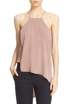 Milly 'Ciara' Asymmetrical Stretch Silk Tank available at #Nordstrom