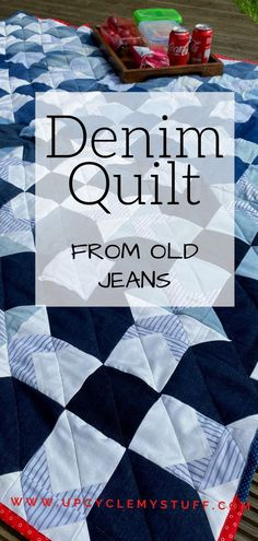 Learn how to make a reversible picnic blanket quilt out of old jeans! I used a quilt pattern for one side and a scrappy improv sewing method for the back. I'm a beginner quilter so you can definitely do it too! I've detailed how many pairs of jeans I used, all the tips I learned along the way and even how I covered my mistakes! #denimquilt #jeansquilt #usesforoldjeans #quiltideas Sewing Machine Projects, Diy Sewing Projects, Cool Diy Projects, Scrap Fabric, Fabric Remnants, Fabric Scraps, Denim Crafts, Upcycled Crafts, Denim Quilts