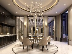 Sleek, modern and luxurious dining room in neutral tones.