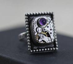 Amethyst Ring Sterling Silver Ring Steampunk Ring February Steampunk Rings, Ring Watch, Sterling Silver Rings, February, Amethyst, Watches, Unique Jewelry, Handmade Gifts, Etsy