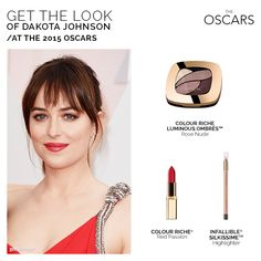 #DakotaJohnson rocked a red hot look at the Oscars! #Getthelook here.
