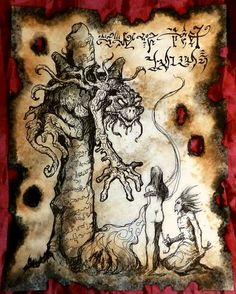 The Thing from the Black Stone  Necronomicon Fragment by zarono, $10.00