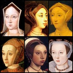 Henry VIII's 6 wives: Catherine of Aragon, Anne Bolyen, Jane Seymour, Anne of Cleves, Catherine Howard, Catherine Par