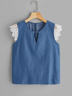 V-cut Neck Contrast Lace Cuff Blouse , Vetement Fashion, Looks Plus Size, Lace Cuffs, Cute Blouses, Mode Hijab, V Cuts, Summer Shirts, Lingerie Sleepwear, Blue Fashion