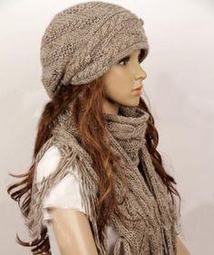 Wool slouchy woman handmade knitting hat and scarf set - light Grey