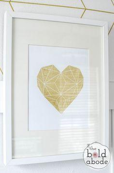 Gold Foil Geometric Heart - FREE PRINTABLE