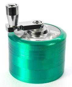 LiHao Pollen Grinder 4 teilig Crusher für Tabak,Spice Metal 5cm mit Kurbel + Mini Scraper für Herb Tobacco