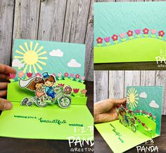 Lawn Fawn - Bicycle Built for You, Stitched Hillside Pop-up, Flower Hillside Pop-up Add-on, Spring Showers - pop up card by Diana featured on Fawny Flickr Friday