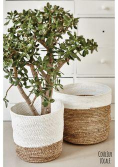 Raffia Baskets Naturel & White - Bags & baskets