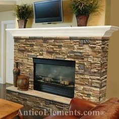 airstone with mantal | Stone Fireplace Makeover