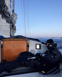 @ matsgrimseth.  Helly Hansen ambassador Mats Grimseth taking a quick nap on the boat.  His sailing gear keeps him warm and dry in extreme conditions.