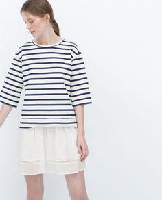 Zara Basic Sweatshirt in White (striped) | Lyst