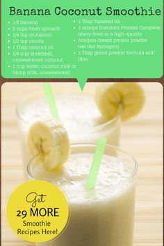 Banana coconut smoothie. The fats found in coconut oil are awesome ant-virals. This dreamy smoothie not only tastes delicious, but will also give your immune system a much needed boost! 29 more healthy smoothie recipes here!