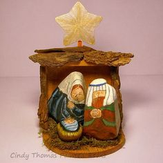 DIY Stable for Nativity Sets Painted on Rocks