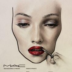 MAC face chart by Amalia Bot Kiss Makeup, Mac Makeup, Makeup Geek, Beauty Makeup, Mac Face Charts, Makeup Face Charts, Makeup Drawing, Glossy Makeup, Make Up Art