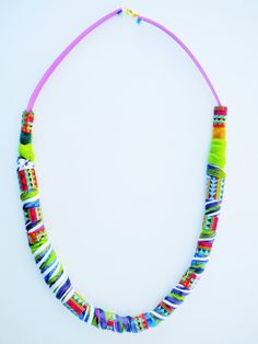 colorful necklace fabric necklace geometric statement by Jiakuma
