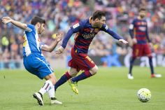 Barcelona's Leo Messi in action during the Spanish league football match between the FC Barcelona and the RCD Espanyol at Camp Nou stadium on May 8...