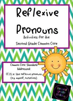 Reflexive Pronouns - This pack focuses on teaching correct use of reflexive pronouns. It includes a noun and reflexive pronoun cut and paste sort, a board game, and five single page stories with missing reflexive pronouns (students will be asked to fill in the reflexive pronouns from a word bank). The board game includes an answer key so partners can check their understanding as they play. These activities work well as literacy centers. $