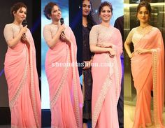 Tamanna in pink designer saree and high neck blouse for Bahubali tamil trailer launch