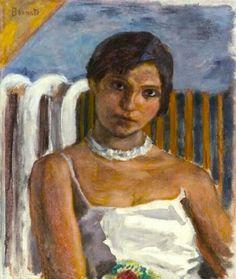 Pierre Bonnard (French, 1867-1947), Femme brune au collier blanc devant un radiateur, c.1920. Oil on canvas, 62.3 x 52.8 cm