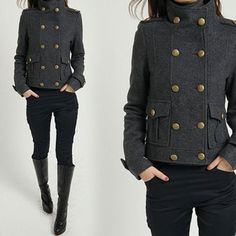 Military Cape Coat Gray