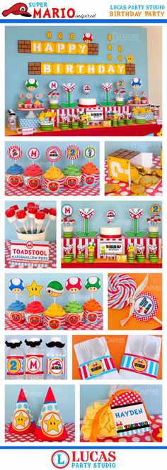 Super Mario Inspired Birthday Party - DIY PRINTABLE Personalized Package FULL Collection - H3a by LucasPartyStudio on Etsy https://www.etsy.com/listing/175040279/super-mario-inspired-birthday-party-diy