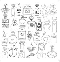 Adult Coloring Books Paris Sketch Coloring Page Free Adult Coloring Pages, Coloring Book Pages, Printable Coloring Pages, Coloring Sheets, Doodle Drawings, Doodle Art, Bottle Drawing, Sketch Note, Doodles