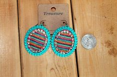 Excited to share this item from my shop: Serape earrings Dangle Earrings, Dangles, Turquoise, Clothes For Women, Handmade, Stuff To Buy, Etsy Shop, Pop, Outfit