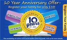 Celebrating Time4Learning's 10 Year Anniversary with a $10 Special in April! Visit us for details!