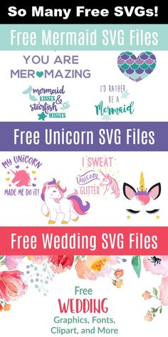 This page is FULL of free SVG files for crafting on Cricut and Silhouette. Unicorns, mermaids, back to school, weddings - so many! About Free SVG Cut File Collections PinYou can easi Cricut Air, Cricut Vinyl, Cricut Fonts, Svg Files For Cricut, Cricut Invitations, Cricut Tutorials, Free Svg Cut Files, Svg Files For Scan And Cut, Silhouette Cameo Projects