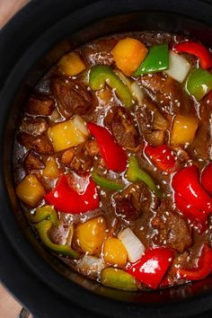 Slow Cooker Sweet and Sour Pork Recipe (Crockpot) – Dinner, then Dessert Slow Cooker Sweet and Sour Pork is a Chinese takeout favorite made with pork, bell peppers, and pineapple chunks. The crockpot does all the work! Sweet Sour Pork Recipe, Sweet And Sour Pork Chops, Sweet And Sour Meatballs, Sweet And Sour Recipes, Pork Tenderloin Recipes, Pork Recipes, Crockpot Recipes, Cooker Recipes, Recipes With Pork Chunks