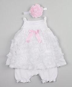 Pink & White Chiffon Skirted Romper & Headband - Infant by Truffles Ruffles #zulily #zulilyfinds