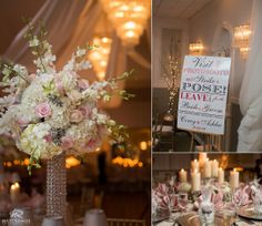 Wedding Reception Details | Floral Centerpiece | Pink and Grey | Highland Country Club © Matt Ramos Photography
