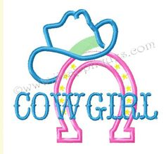 Cowgirl with hat and horseshoe applique