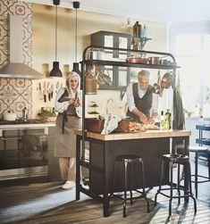 IKEA Vadholma Kitchen Island with Pot Rack - Making it Lovely Kitchen Layout, New Kitchen, Kitchen Design, Kitchen Island Pot Rack, Hackers Ikea, Ikea Island, Refacing Kitchen Cabinets, Diy Chair, Deco Design