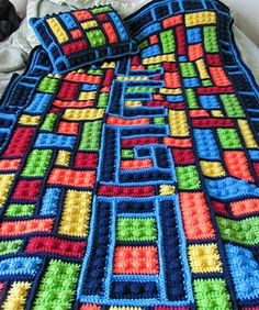 "Lego Inspired Blanket / by Alexi Westover / CROCHET / pattern is $10 USD / 39"" x 72"""